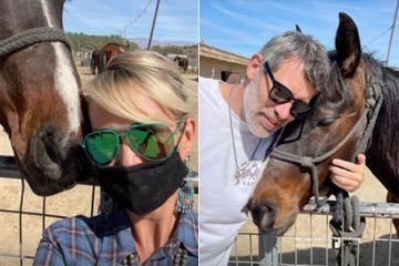 Laeticia Hallyday et Jalil Lespert, en balade dans le désert californien