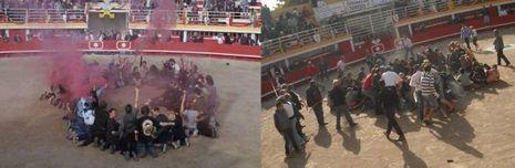 Le 8 octobre 2011, l'action anti corrida dans l'arène de Rodilhan.