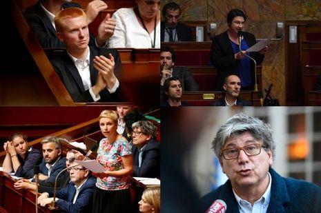 De gauche à droite et de bas en haut : Adrien Quatennens, Muriel Ressiguier, Clémentine Autain et Eric Coquerel.