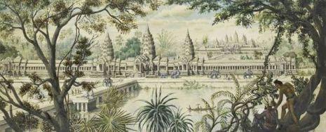 Peinte à l'aquarelle en 1868, cette vue idéale d'Angkor Vat révèle le talent de dessinateur et l'imagination très vive de Delaporte.