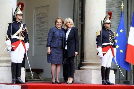 Brigitte Macron et Nadia Aoun, à l'Elysée le 25 septembre.