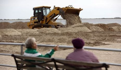 Brighton Beach Bulldozer Sandy Frankenstorm New York-
