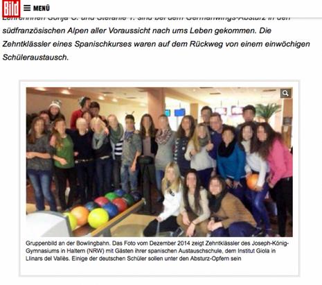 La photo de groupe des étudiants allemands publiée par Bild.