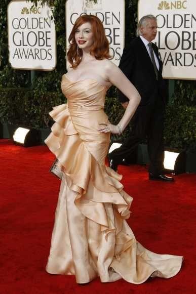 Christina Hendricks en robe Cristiano Siriano aux Golden Globes 2010-