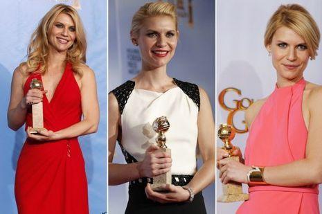 Claire Danes et ses Golden Globes, en 2013, 2012 et 2011.