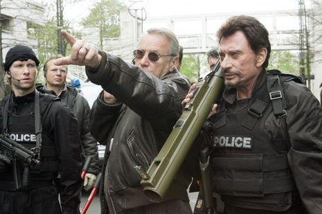"""Yves Régnier et Johnny Hallyday dans """"Commissaire Moulin""""."""