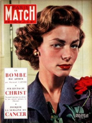 Lauren Bacall illumine la Une de Paris Match n°107, le 7 avril 1951.
