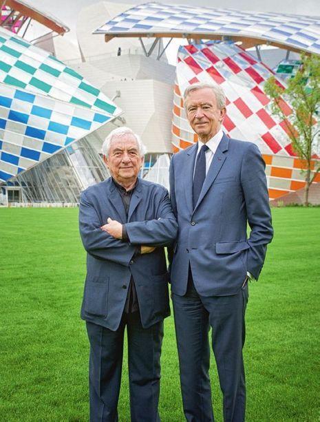 Daniel Buren et Bernard Arnault.