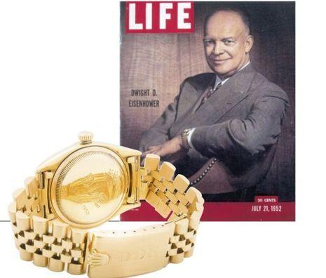 Dwight David Eisenhower, collectionneur de montres, fait la couverture de « Life » en 1952 avec sa Rolex.