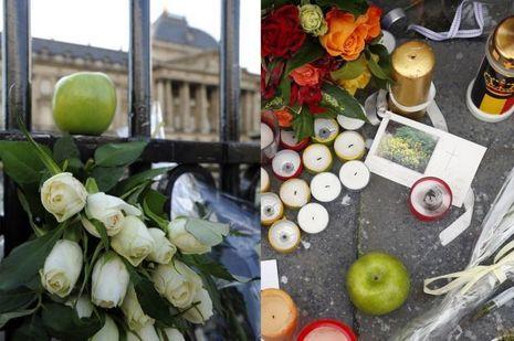 Des pommes déposées en souvenir de Fabiola, devant le palais royal de Bruxelles.