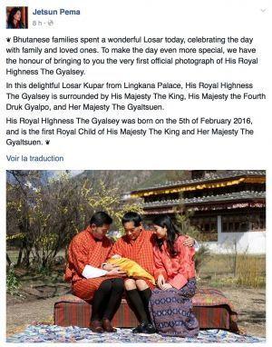 Facebook Jetsun Pema Bhoutan