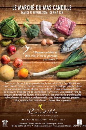 L'affiche d'une invitation au « Mas Candille » à Mougins qui donne envie de se libérer en cuisine.