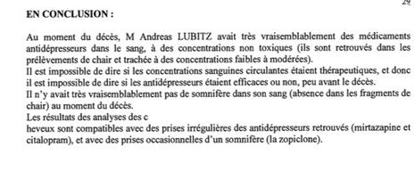 L'analyse toxicologique de Lubitz