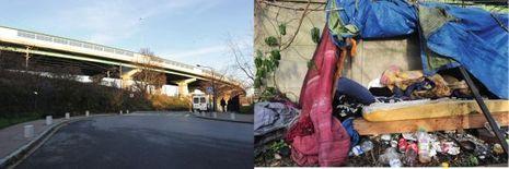 La cachette sur le talus, sous l'autoroute A86, à Aubervilliers. Abdelhamid Abaaoud et Chakib Akrouh y sont restés du 13 au 17 novembre.