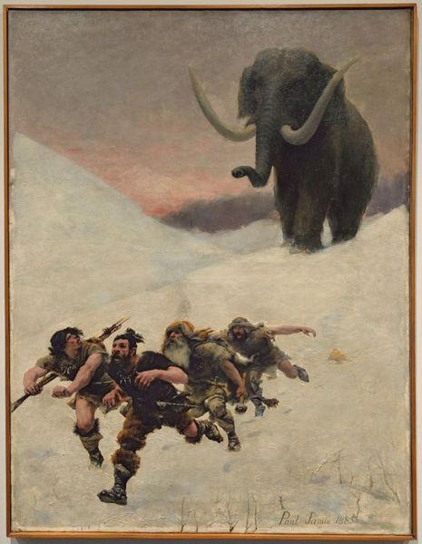 « La fuite devant le mammouth », huile sur toile de Paul Jamin, 1885.