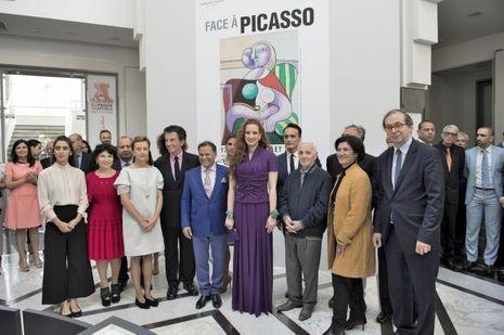 La princesse Lalla Salma du Maroc avec Jack Lang et Charles Aznavour à Rabat, le 15 mai 2017