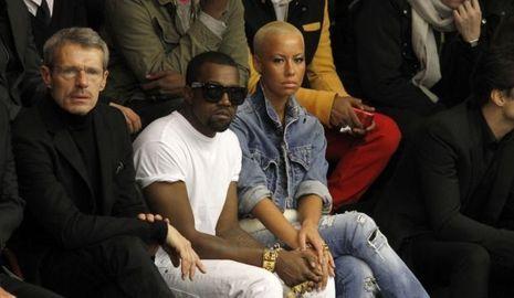Lambert Wilson Kanye West et Amber Rose à un défilé Dior-
