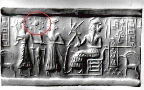 Le bas-relief sumérien sur lequel Sitchin croit avoir trouvé la preuve de l'existence de Nibiru, la neuvième planète.