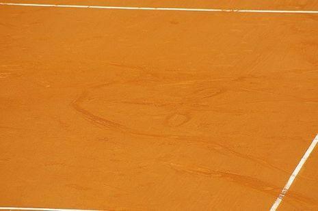 Le visage dessiné par Monfils après le match