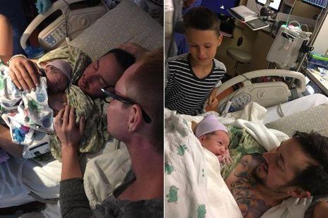 A gauche : Trystan, son mari Biff et Leo. A droite :Riley (à g.), son frère Leo et son père Trystan Reese.