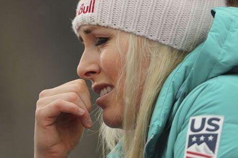 Lindsey Vonn, en larmes après la chute de son amie Jacqueline Wiles.
