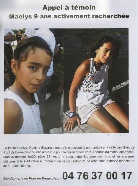 L'avis de recherche pour la petite Maëlys, disparue le dimanche 27 août à Pont-de-Beauvoisin.