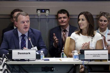 La princesse Mary de Danemark avec le Premier ministre danois Lars Lokke Rasmussen à New York, le 18 septembre 2017
