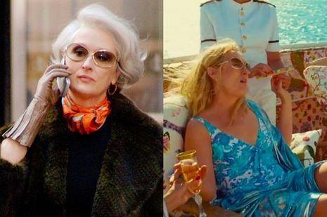 "Meryl Streep dans ""Le diable s'habille en Prada"" et dans ""Mamma Mia!"""
