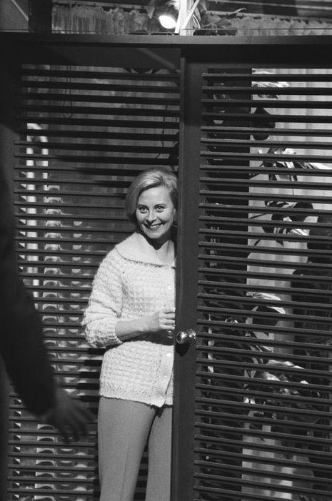 Michèle Morgan en tournage pour «Les scélérats», décembre 1959.