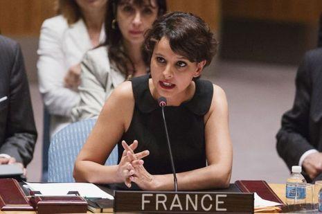 Najat Vallaud-Belkacem, lundi, lors de la réunion du Conseil de sécurité de l'ONU.