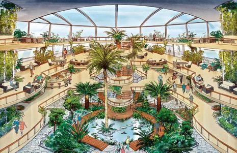Jardin de 5 étages avec un volume de 900 m3 pour recycler les eaux grises et les déchets organiques du restaurant.