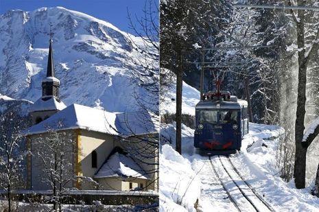 Vue de Saint-Gervais et le Tramway du mont Blanc