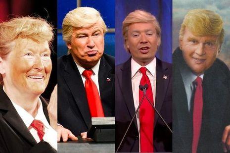 De gauche à droite : Meryl Streep, Alec Baldwin, Jimmy Fallon, Johnny Depp parodient Donald Trump