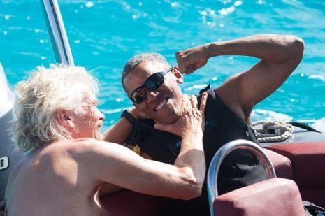 Richard Branson et Barack Obama.