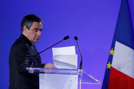 François Fillon lors de sa conférence de presse du 21 avril