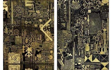 A gauche, une capture d'écran du décor du clip, à droite, l'œuvre dont il est inspiré, «Constellation III».