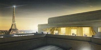 Le futur restaurant Girafe, sur le toit de la Cité de l'architecture.