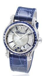 Montre Chopard, Happy Sport en or blanc, diamants et saphirs