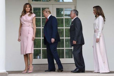 La reine Rania et le roi Abdallah II de Jordanie avec le couple présidentiel des Etats-Unis à Washington, le 25 juin 2018