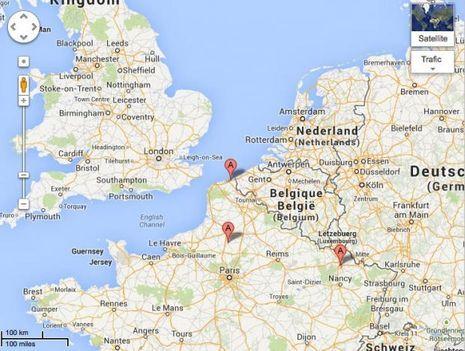 Les trois villes où a été observée la boule blanche tournoyante: Breteuil, près de Bauvais, Dunkerque et enfin Metz.