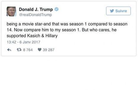 «La star de cinéma – et ce n'était que la saison1 comparée à la saison14. Comparez-le maintenant à ma saison1. Mais on s'en fiche, il a soutenu Kasich & Hillary.»
