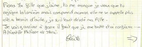 Une partie de la lettre écrite par la mère de Fiona