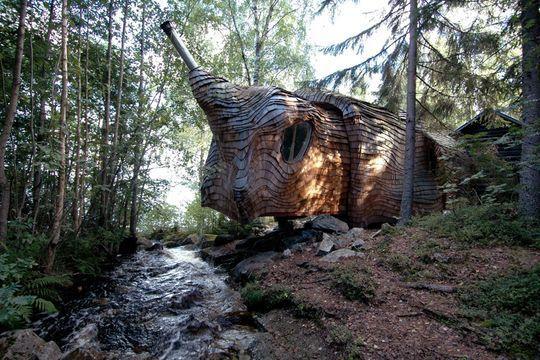 Une maison 100 % écolo en plein milieu de la forêt