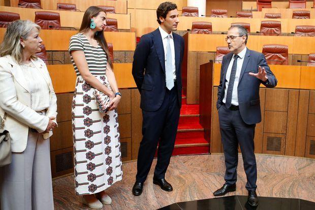 Jean-Christophe Napoléon avec sa fiancée à l'Assemblée de Corse à Ajaccio, le 14 août 2019