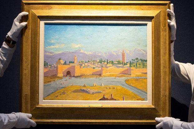 """La huile sur toile """"La tour de la mosquée Koutoubia"""" (Winston Churchill, 1943), présentée par Christie's et vendue le 1er mars 2021"""