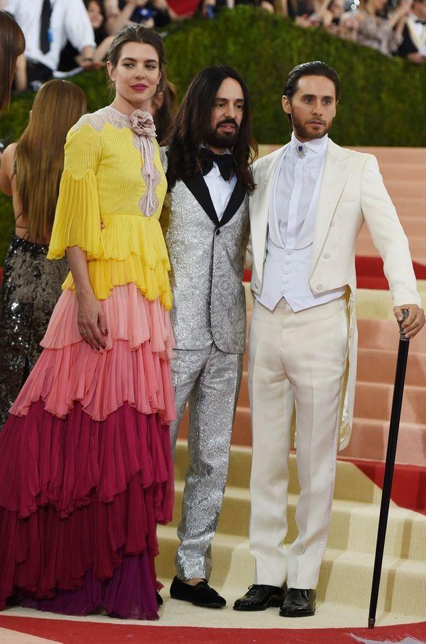 Charlotte Casiraghi avec Alessandro Michele et Jared Leto au Met Gala à New York, le 2 mai 2016
