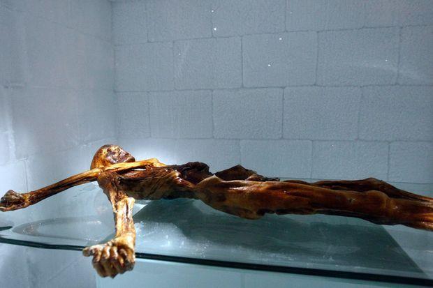 La momie d'Otzi est exposée de Bolzano, en Italie