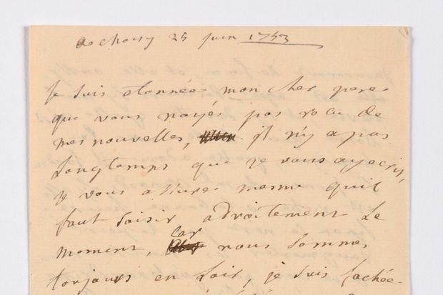 Début de la lettre de la marquise de Pompadour à son père en vente chez Osenat à Versailles le 23 novembre 2019