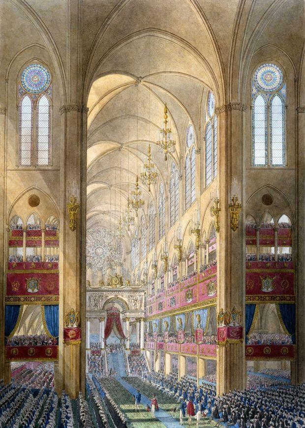 Intérieur de Notre-Dame de Paris lors du sacre de Napoléon. Gravure aquarellée de Percier, 1807