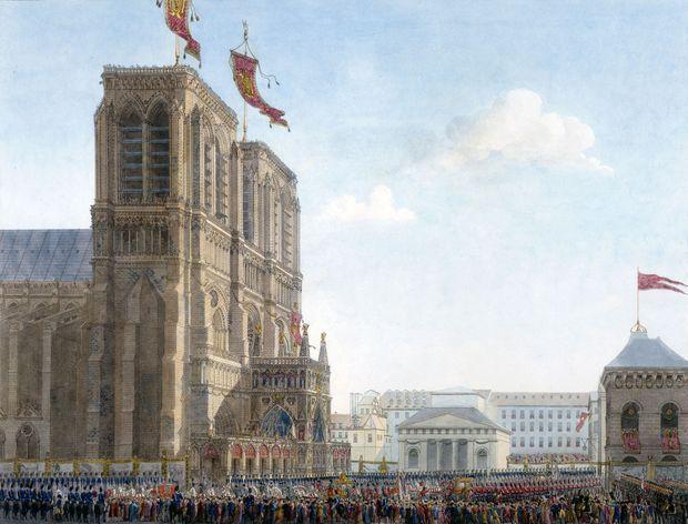 Notre-Dame de Paris lors du sacre de Napoléon. Gravure aquarellée de Percier, 1807